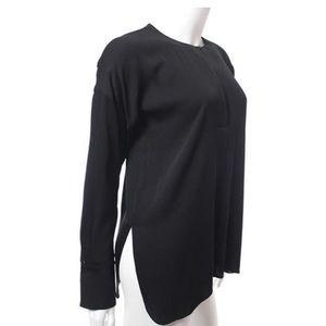 Vince Tops - Vince covered black placket stretch silk blouse 10